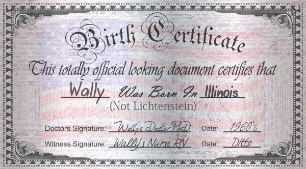 Wallys Real Birth Certificate